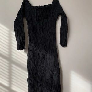 black zara ruched dress